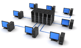 Client computers connected to a server in computer networks