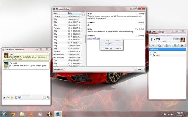 LAN Messenger Sample work screenshots